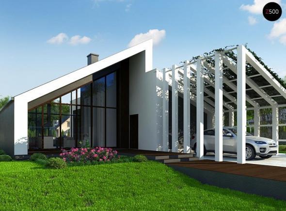 Современный одноэтажный дом с большим остеклением и навесом для автомобиля